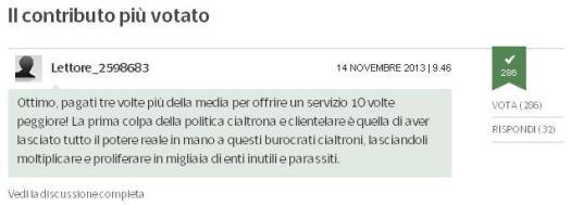 Il commento più votato all'articolo sul sito del Corriere.it